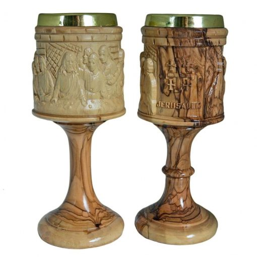 Hand crafted olive wood Last supper Chalice from Bethlehem.