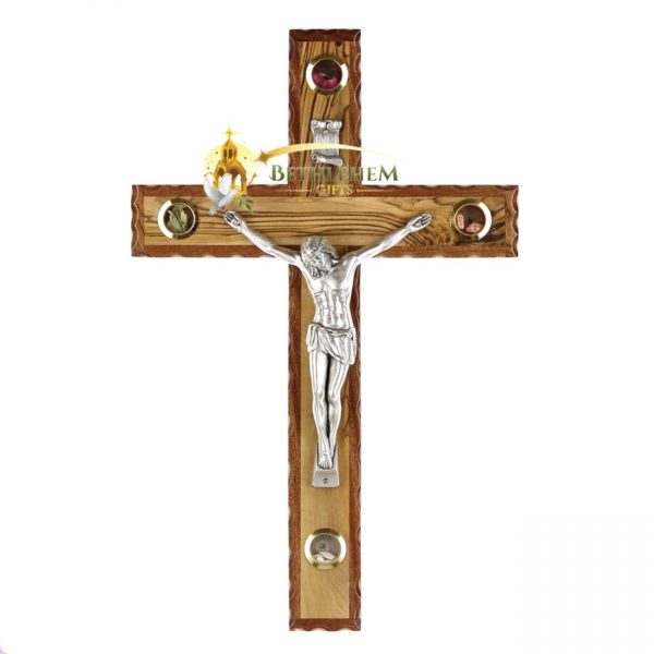 Latin Olive Wood Mahogany Crucifix Medium