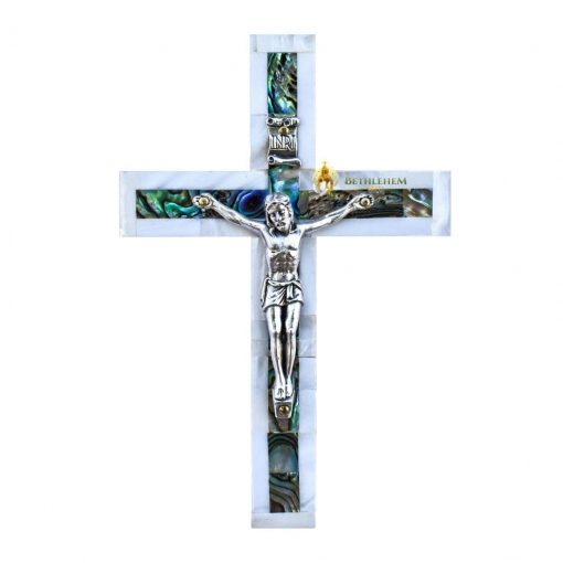 Mother of Pearl Small Latin Crucifix from Bethlehem