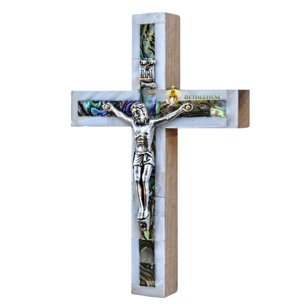 Mother of Pearl Small Latin Crucifix-a