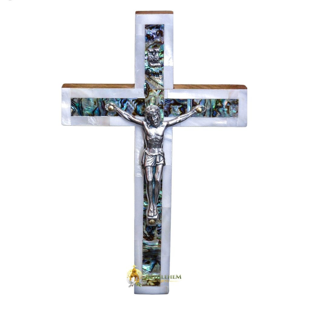 Olive wood Mother of Pearl Small Latin Crucifix, made in Bethlehem