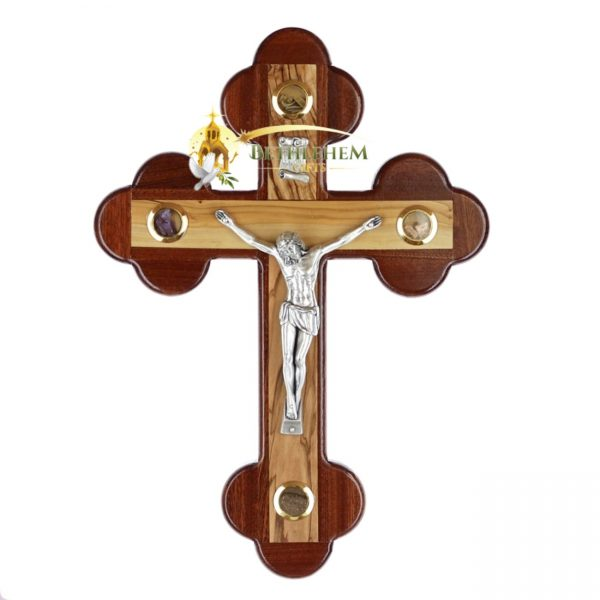 Olive Wood Mahogany Budded Crucifix Small