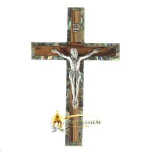 Olive Wood and Abalone Small Latin Crucifix from Bethlehem
