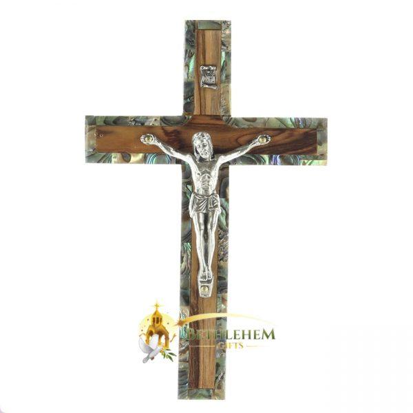 Olive Wood and Abalone Small Latin Crucifix