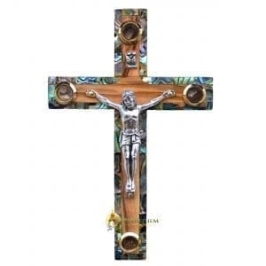 Olive Wood and Abalone Small Latin Crucifix with Four Holy Samples from Bethlehem