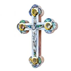 Mother of Pearl Small Budded Crucifix with Holy Samples from Bethlehem