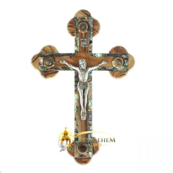 Olive Wood Abalone Small Budded Crucifix with Four Holy Samples