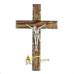 Olive Wood and Abalone Large Latin Crucifix from Bethlehem