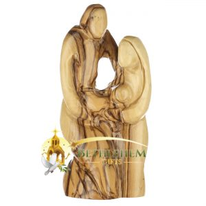 Olive Wood Holy Family Kneeling from Bethlehem