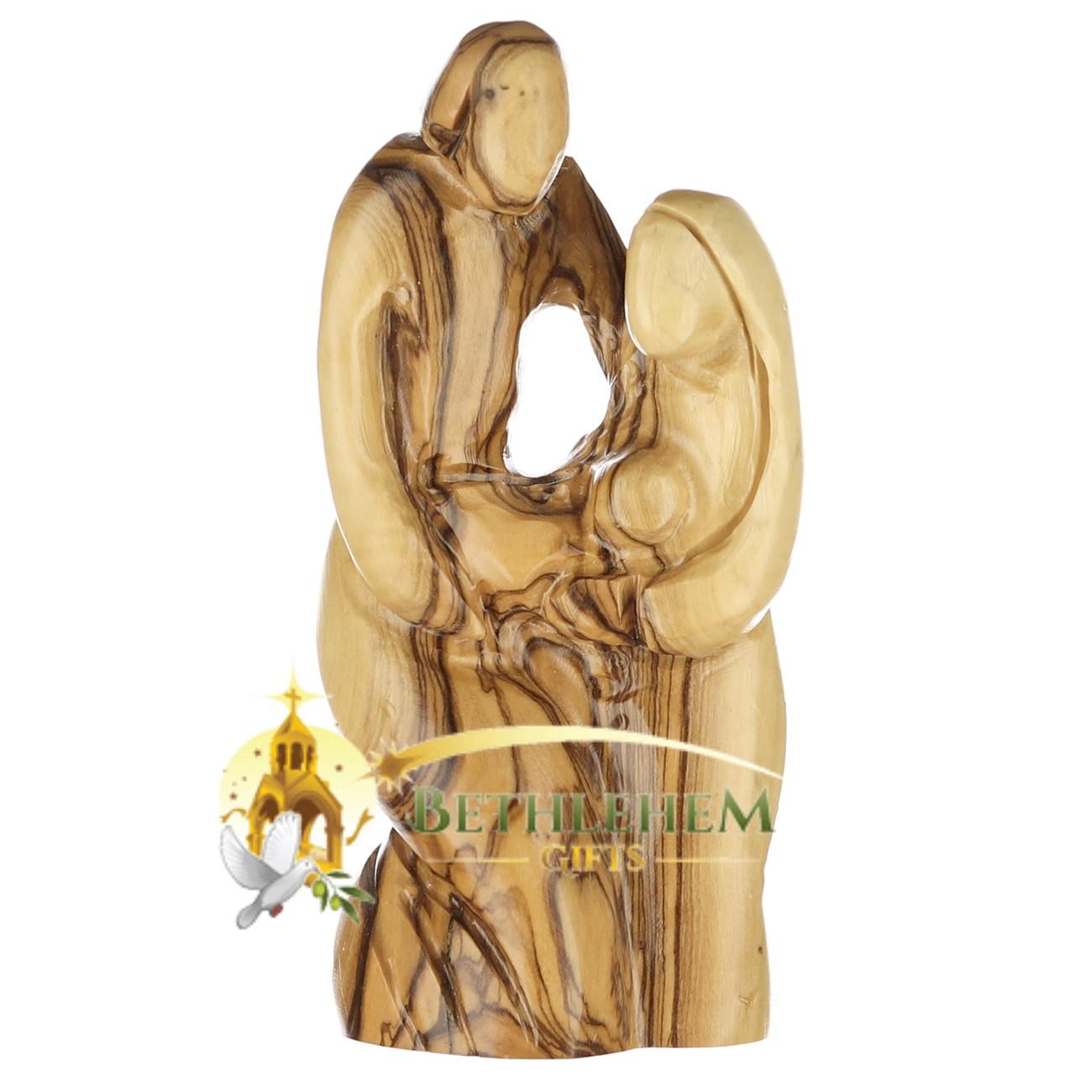 Olive Wood Holy Family Kneeling from Bethlehem