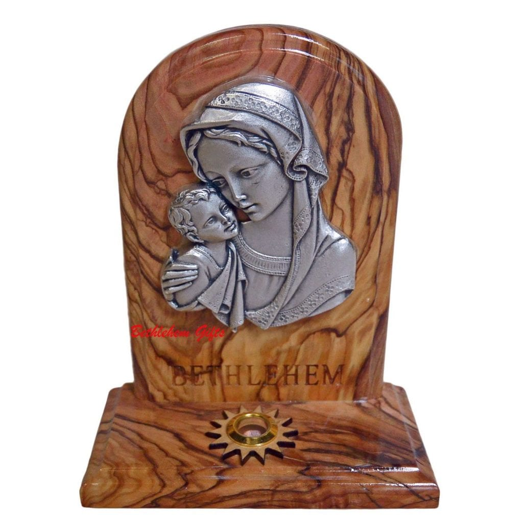 Blessed Mother And Child Standing Plaque With Holy Sample