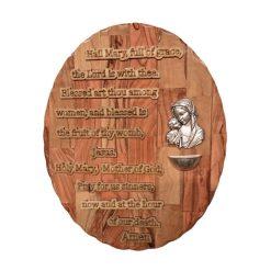 Hail Mary Prayer Plaque, olive wood from Bethlehem