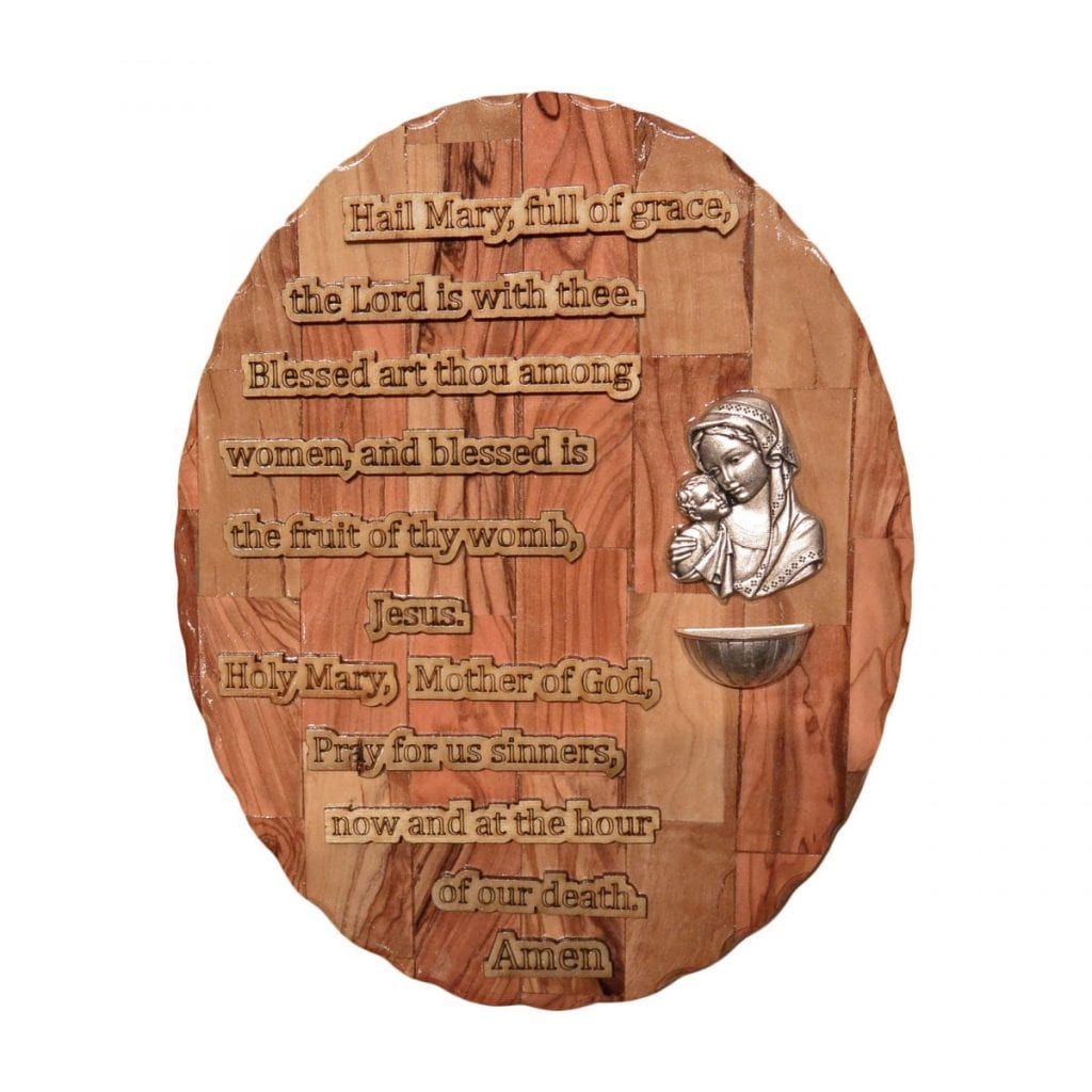 Hail Mary Prayer Plaque, olive wood from Bethlehem
