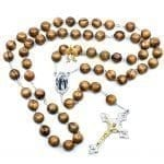 Olive Wood Chain Rosary-25