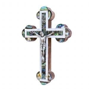 Mother of Pearl Small Budded Crucifix from Bethlehem