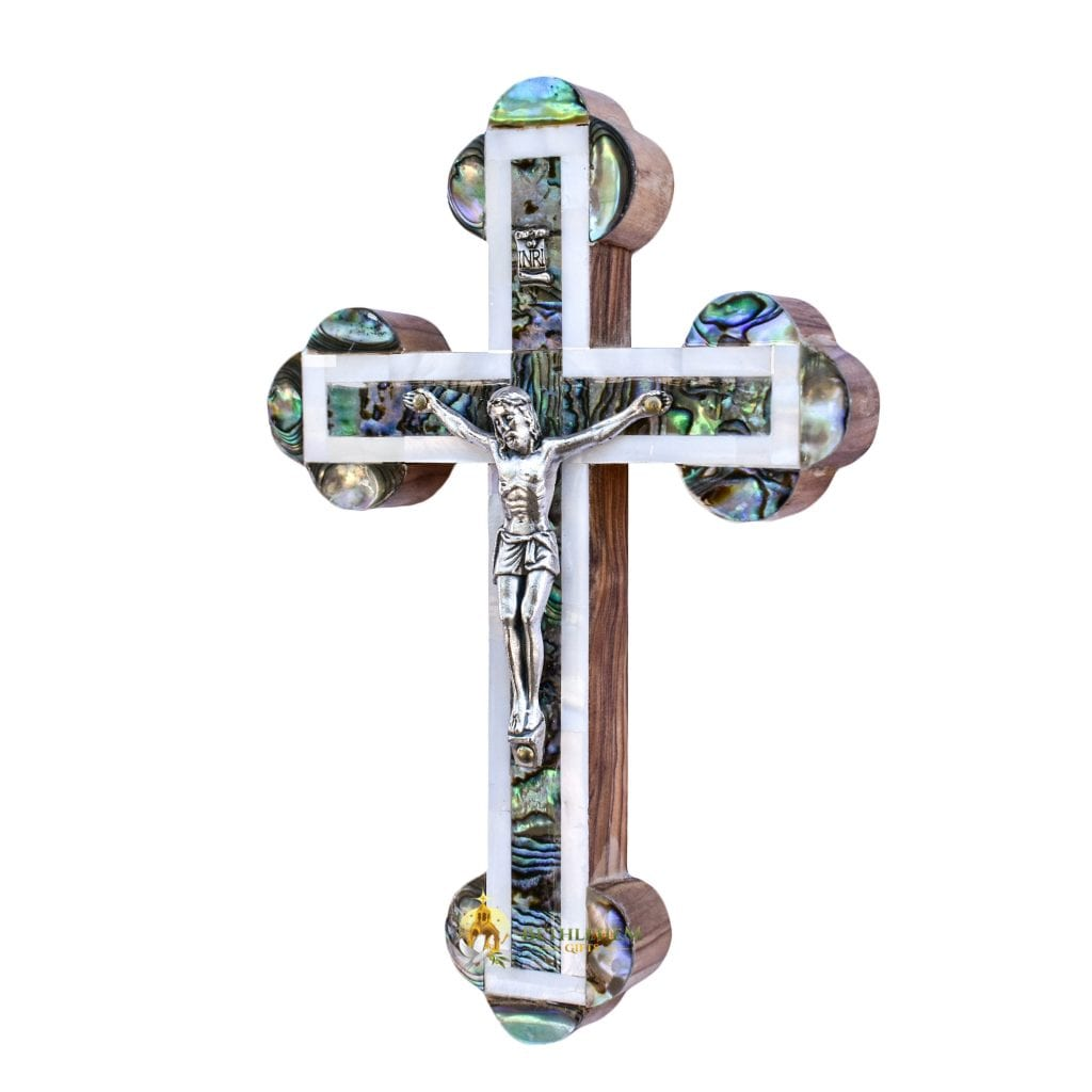 Mother of Pearl Small Budded Crucifix-a