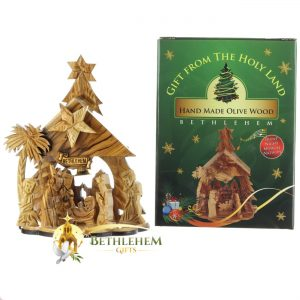 Olive Wood Music Box Nativity from Bethlehem