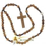 Olive Wood Cord Rosary-14-back