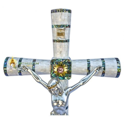 Mother of Pearl Large Crucifix on Base from Bethlehem
