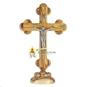 Olive Wood Small Budded Crucifix on Base from Bethlehem