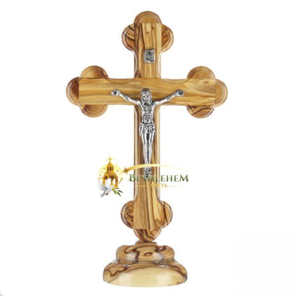 Olive Wood Small Budded Crucifix on Base from Bethlehem