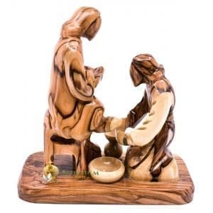 Olive Wood Washing Feet Abstract from Bethlehem