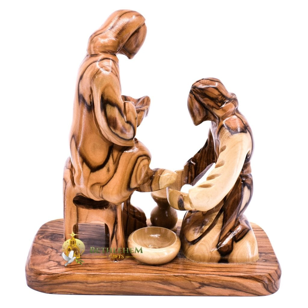 Olive Wood Washing Feet Abstract from Bethlehem