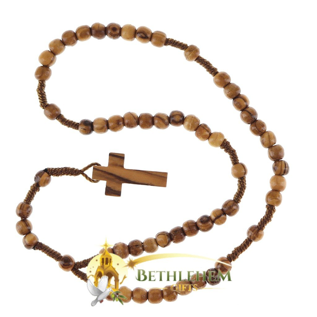 Olive Wood Cord Rosary-01-back
