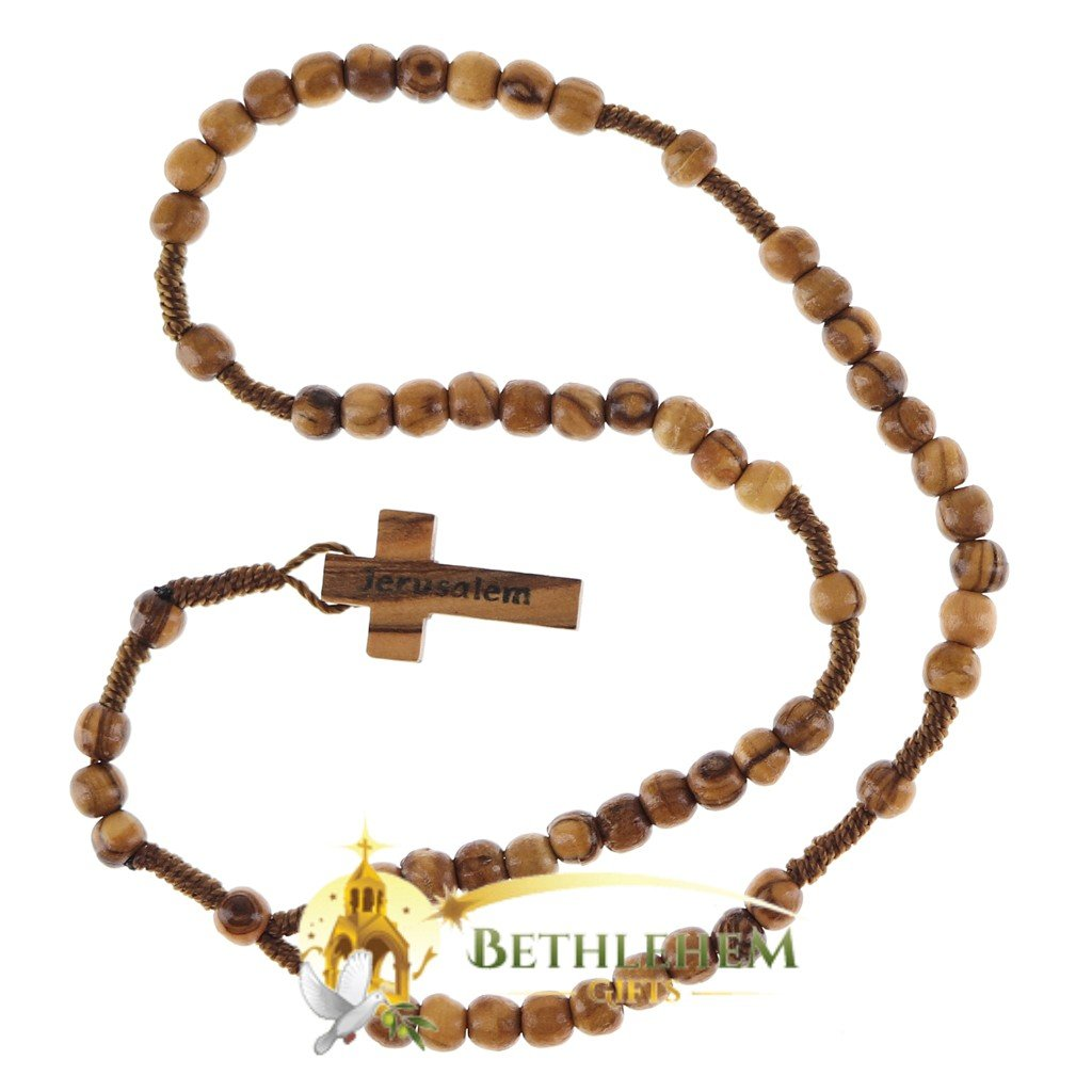Olive Wood Cord Rosary-01