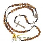 Olive Wood Cord Rosary-21-back