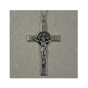 St. Benedict Silver Cross Key Chain