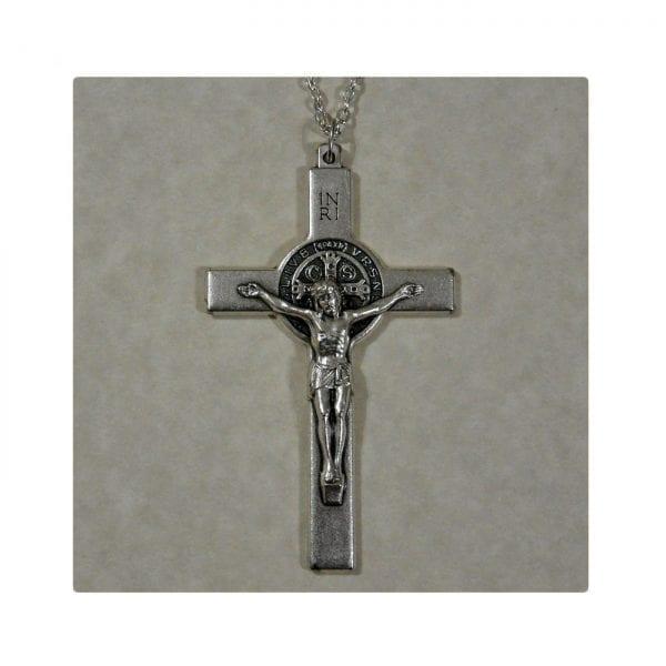 St. Benedict Silver Cross Key Chain