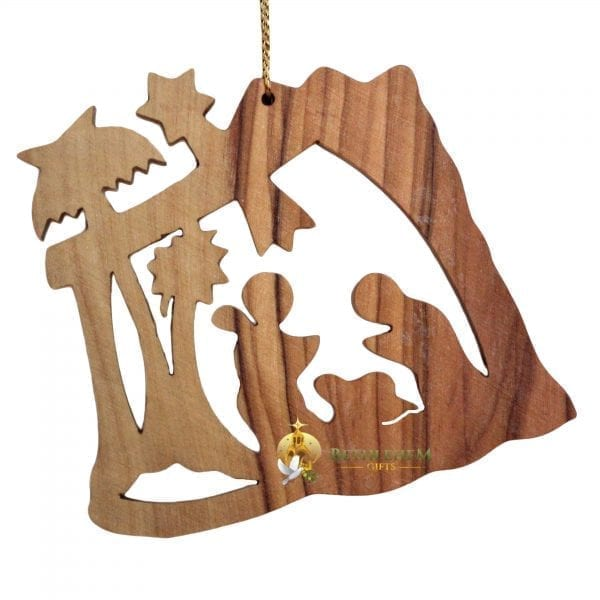 Handcrafted Olive Wood Christmas Ornament from Bethlehem