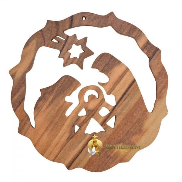 Handcrafted Olive Wood Christmas Ornament-2