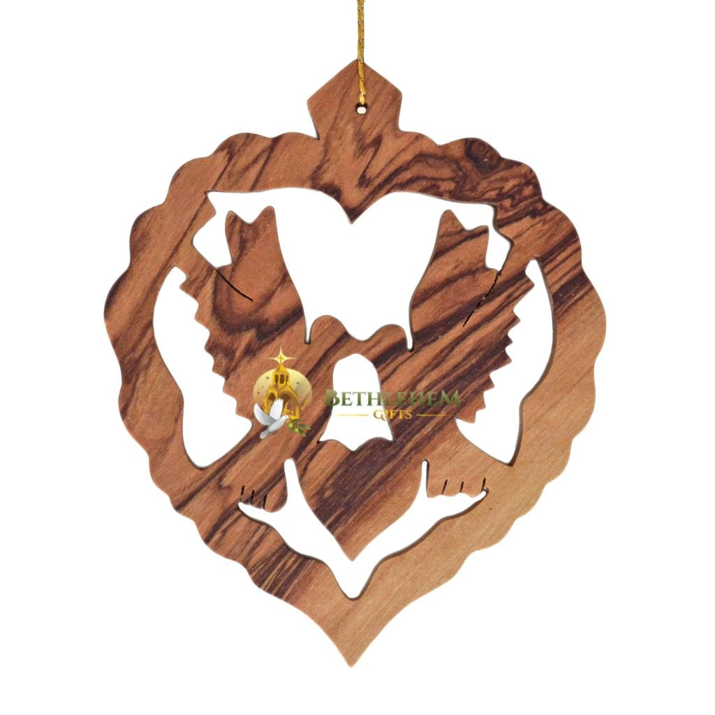 Handcrafted olive wood Christmas ornament from Bethlehem.
