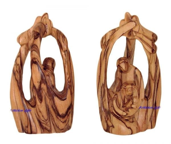 Olive Wood Holy Family in a Cave from Bethlehem