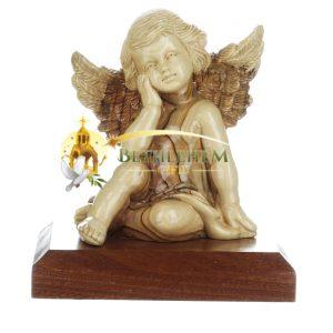 Olive Wood Large Sitting Angel from Bethlehem