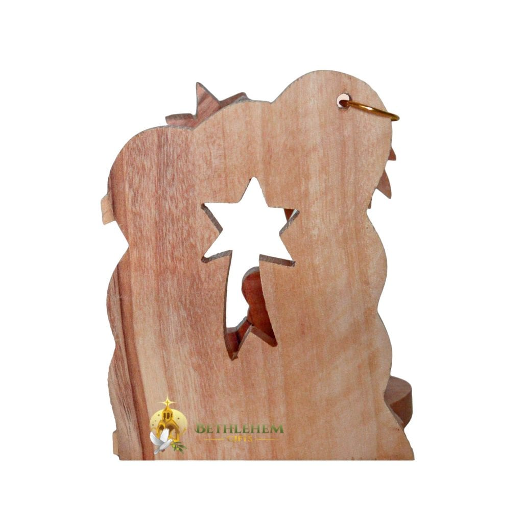 Hand crafted olive wood Christmas tree nativity ornament from Bethlehem
