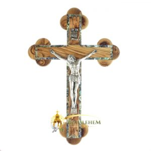Olive Wood Abalone Medium Budded Crucifix from Bethlehem