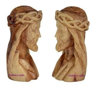 Olive Wood Bust of Jesus Head with Crown of Thorns