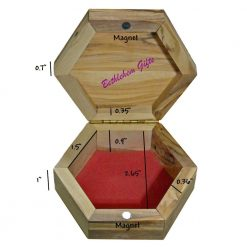 Olive Wood Rosary Box Hexagon Large Size