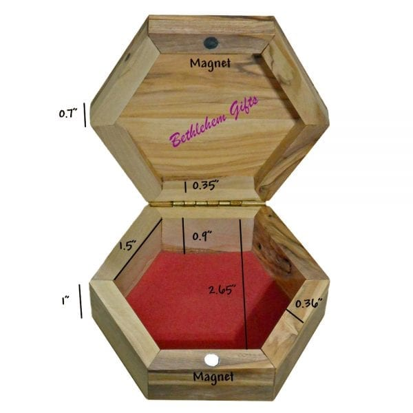 Olive Wood Rosary Box Hexagon Large Size