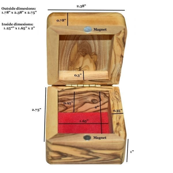 Olive Wood Rosary Box-Size