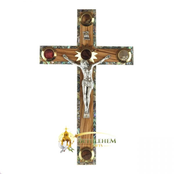 Olive Wood and Abalone Large Latin Crucifix with Five Holy Samples from Bethlehem