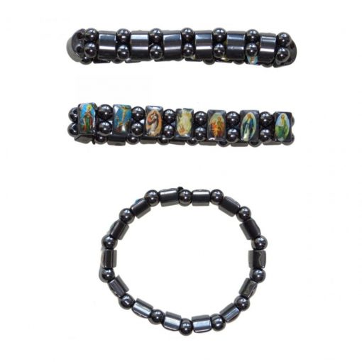 Elastic Hematite Religious Bracelet with random icons attached to blocks