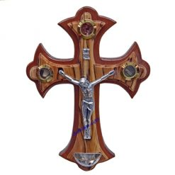 Olive wood and mahogany Holy Water Font Crucifix Small with Holy Samples, hand crafted in Bethlehem