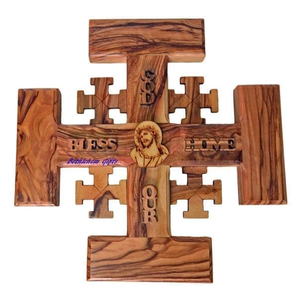 Olive wood Jerusalem Cross Large, hand crafted in Bethlehem