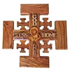 Olive wood Jerusalem Cross Medium, hand crafted in Bethlehem