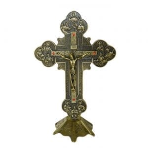Metallic Bronze Budded Crucifix on Base