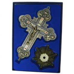 Metallic Bronze Budded Crucifix on Base
